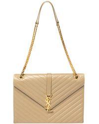 Saint Laurent Saint Laurent Beige Matelasse Leather Large Cassandre Flap Bag - Natural
