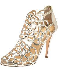 Oscar de la Renta Golden Leather Gladia Cage Peep Toe Sandals - Metallic