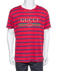 Gucci Red & Blue Striped Linen Knit Logo Printed Oversized T Shirt