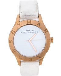 Marc By Marc Jacobs White Rose Gold Tone Stainless Steel Mbm1201 Wristwatch