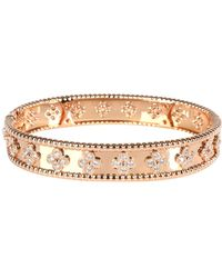 Van Cleef & Arpels Perlee Clover 18k Rose Gold Diamond Bracelet - Metallic