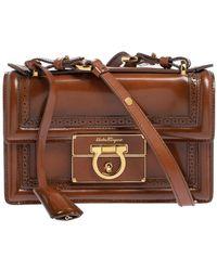 Ferragamo Tan Brogue Glossy Leather Aileen Shoulder Bag - Brown