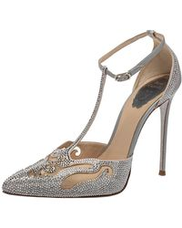 Rene Caovilla Grey Leather And Mesh Embellishment T Strap Court Shoes