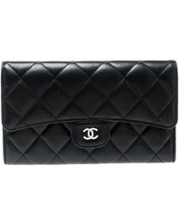 Chanel - Black Quilted Leather Reissue Trifold Wallet - Lyst