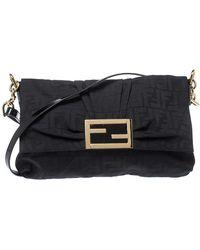 Fendi Black Zucca Canvas And Patent Leather Mia Crossbody Bag