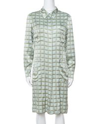Chanel - Vintage Mint Green Checked Silk Shirt Dress - Lyst