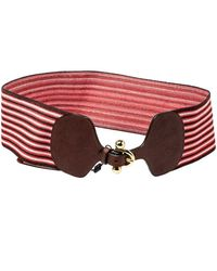 Missoni Tricolor Garter And Leather Wide Stretch Belt - Red