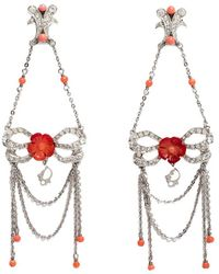 Dior Silver Tone/red Crystal Embellished Butterfly Drop Earrings - Metallic