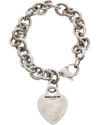 Tiffany & Co. Plain Heart Tag Silver Chain Link Bracelet - Metallic