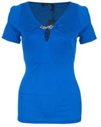 Roberto Cavalli Blue Stretch Jersey Top