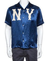Gucci Navy Blue Satin New York Yankees Patch Bowling Shirt