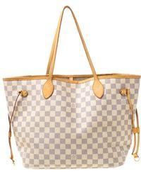Louis Vuitton Damier Azur Canvas Neverfull Mm Bag - Gray