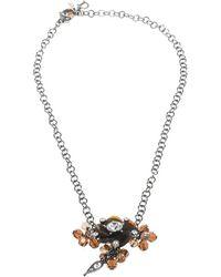 Dior - Crystal Flower Gunmetal Tone Chain Link Choker Necklace - Lyst
