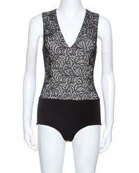 Alice + Olivia Black Lace Sleeveless Zooey Bodysuit