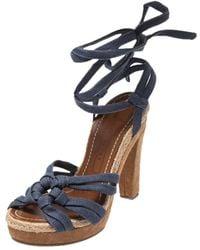 Marc Jacobs Blue Denim Platform Ankle Wrap Sandals