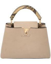 Louis Vuitton Galet Taurillon Leather Capucines Bb Bag - Natural