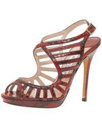 Jimmy Choo Red Python Keenan Python Platform Sandals