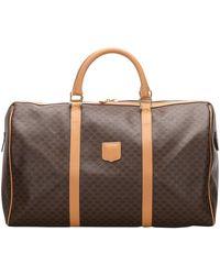 Celine Brown/dark Brown Macadam Canvas Travel Bag
