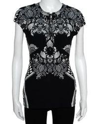 Roberto Cavalli Monochrome Abstract Paisley Printed Jersey Top - Black