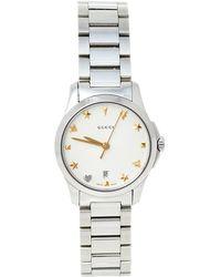 Gucci Silver Stainless Steel G-timeless Ya126572a Wristwatch - Metallic