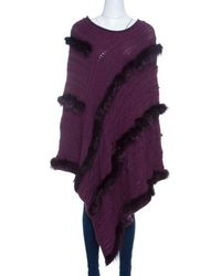 Roberto Cavalli Cable Knit Fur Trim Poncho M - Purple