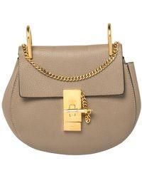Chloé Dark Beige Leather Small Drew Shoulder Bag - Natural