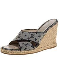 Louis Vuitton White/blue Monogram Canvas Espadrille Wedge Sandals