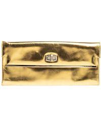 Balenciaga Metallic Gold Leather Turnlock Metal Flap Clutch