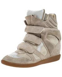 Isabel Marant Grey Suede Bekett Wedge High Top Trainers Size 38