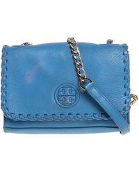 Tory Burch Blue Leather Mini Marion Shrunken Shoulder Bag