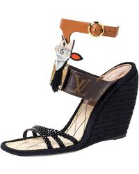 Louis Vuitton Multicolor Leather Mask Magic Spell Wedge Espadrille Ankle Cuff Sandals - Black