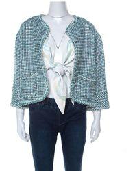 Chanel Green & Iridescent Tweed Inner Lambskin Front Tie Waistcoat Jacket M