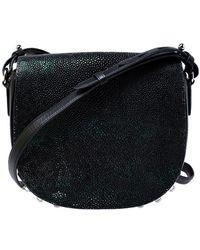 Alexander Wang Black Stingray And Leather Alpha Lia Saddle Bag
