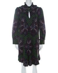 Marc By Marc Jacobs Green Wool & Silk Blend Peacock Paisley Print Short Dress