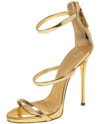 Giuseppe Zanotti Gold Leather Harmony Sandals - Metallic