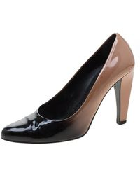 Prada - Beige/black Degradè Patent Leather Pumps - Lyst