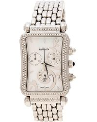 Balmain White Mother Of Pearl Stainless Steel Diamonds Jolie Madame 5851 Women's Wristwatch 29 Mm - Metallic