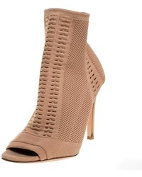Gianvito Rossi Beige Stretch Knit Fabric Perforated Boots - Natural