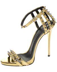 Giuseppe Zanotti Gold Metallic Spike Leather Ankle Strap Sandals