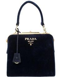 Prada Navy Velvet Frame Top Handle Bag - Blue