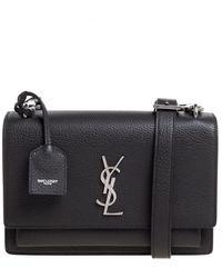 Saint Laurent Saint Laurent Grey Grained Leather Medium Sunset Shoulder Bag