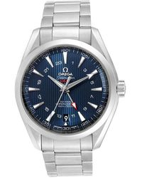 Omega Blue Stainless Steel Seamaster Aqua Terra Gmt Co-axial 231.10.43.22.03.001 Men's Wristwatch 43 Mm