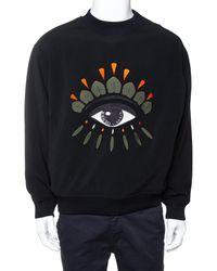 KENZO Black Eye Embroidered Knit Oversized Sweatshirt