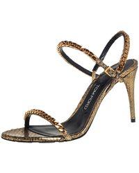 Tom Ford Metallic Gold Python Leather Chain Embellished Slingback Sandals