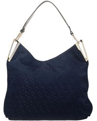 DKNY Blue/brown Signature Canvas And Croc Embossed Leather Hobo