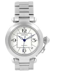 Cartier White And Stainless Steel Pasha C W31074m7 Women's Wristwatch 35mm