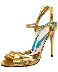 Gucci Metallic Gold Leather Strappy Allie Knot Sandals
