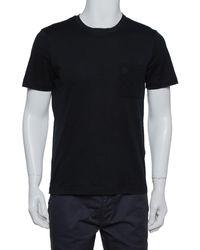 Louis Vuitton Black Cotton Damier Pocket Detail Crewneck T-shirt