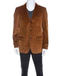 Ferragamo Tan Corduroy Regular Fit Blazer L - Brown