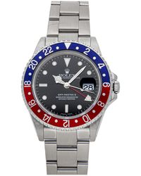 "Rolex Black Stainless Steel Gmt-master Ii ""pepsi"" 16710 Wristwatch 40 Mm"